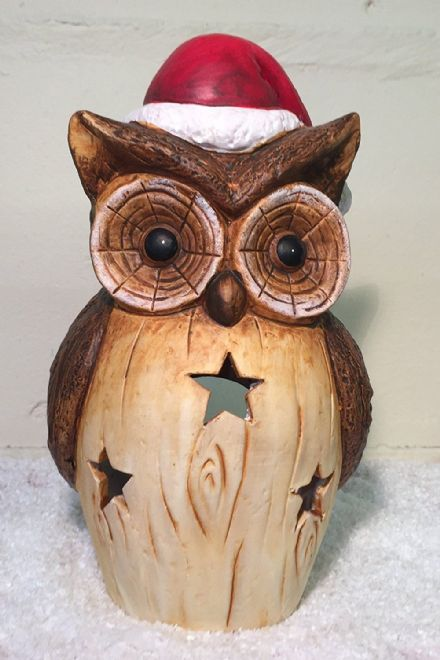 XL Hand Painted Ceramic Owl in Santa Hat Christmas Tea Light Candle Holder